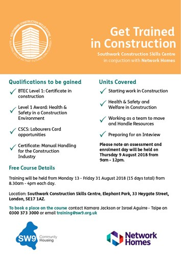Get Trained in Construction Flyer